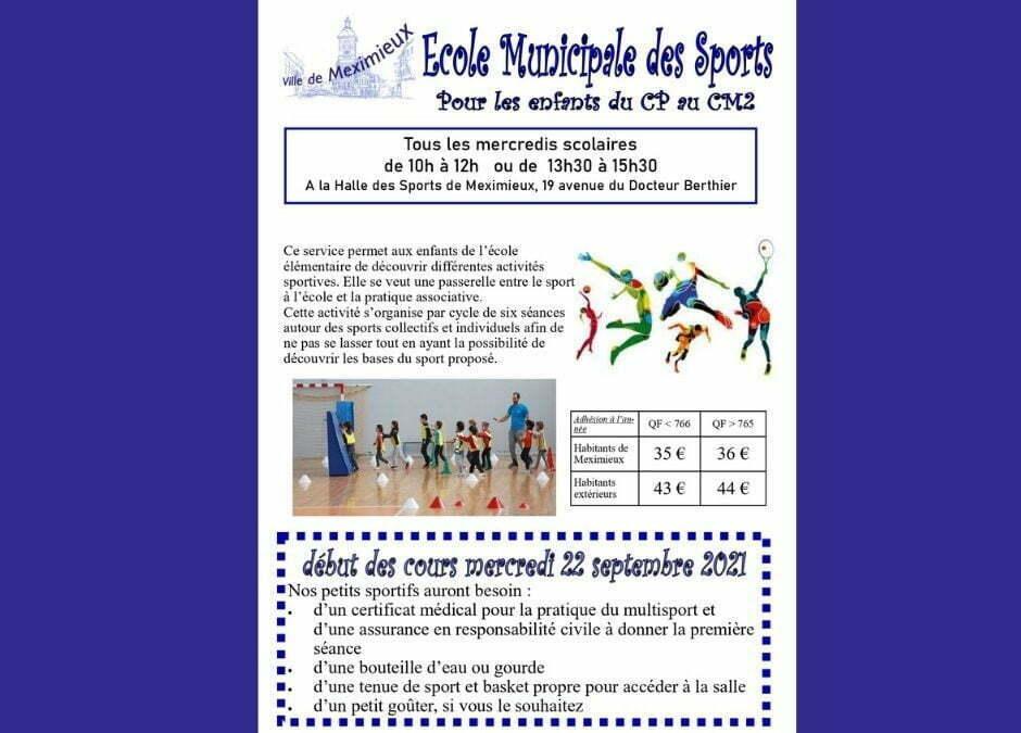 INSCRIPTIONS À L'ÉCOLE MUNICIPALE DES SPORTS